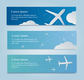 Banner with white airplane in the sky. stock images