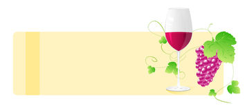 Banner with wine glass and grape Stock Photography