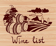 Banner with winemaking on a wooden background Royalty Free Stock Image