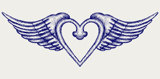 Banner with wings. Doodle style Stock Image