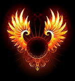 Banner with wings phoenix. Artistically painted,  round banner with fiery phoenix wings on a black background Royalty Free Stock Photos