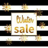 Banner winter sale. Lettering design with shining gold glittering snowflakes. Vector illustration Royalty Free Stock Image