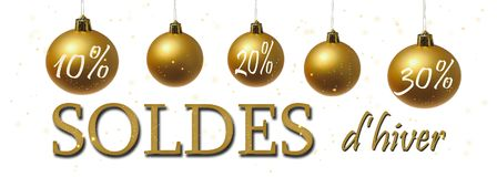banner for winter sales written in french Stock Images