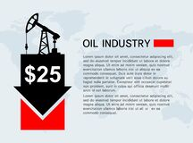 Free Banner With A Rocking Machine For Oil Production And A Down Arrow. Low Cost Per Barrel. Royalty Free Stock Photo - 176945455
