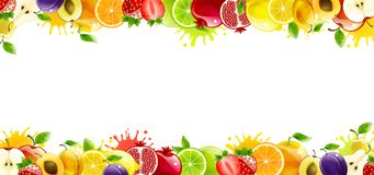 Free Banner With Juicy Fruit Stock Photography - 124369262