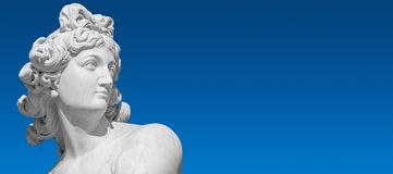 Free Banner With Old Statue Of Sensual Bathing Renaissance Era Woman At Blue Smooth Gradient Sky Background With Copy Space, Potsdam, Royalty Free Stock Photo - 180639495