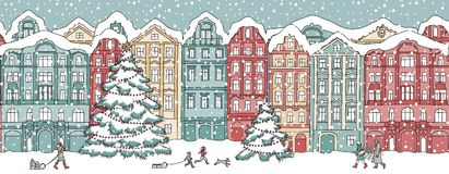 Free Banner With Snow Covered Houses Stock Photography - 102515042