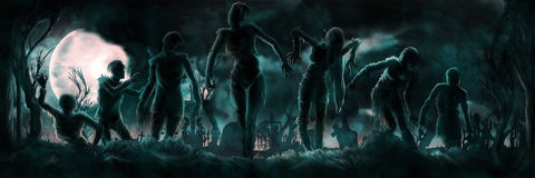 Banner With Zombies Silhouettes Royalty Free Stock Images
