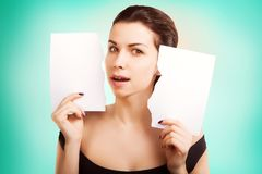 Banner woman with  blank empty paper billboard with copy space f Stock Photography
