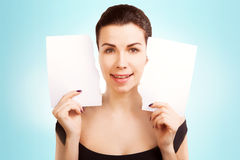 Banner woman with  blank empty paper billboard with copy space f Royalty Free Stock Photography
