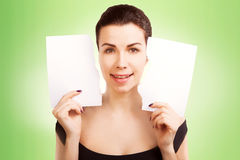 Banner woman with  blank empty paper billboard with copy space f Stock Image