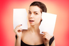 Banner woman with  blank empty paper billboard with copy space f Stock Photo