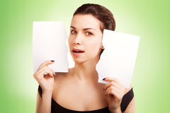 Banner woman with  blank empty paper billboard with copy space f Royalty Free Stock Photos