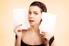 Banner woman with  blank empty paper billboard with copy space f Royalty Free Stock Image