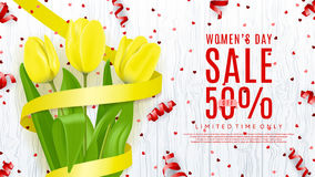 Banner for Women`s Day sale. Top view on composition with yellow flowers and satin ribbon. Vector illustration with serpentine and confetti on wooden texture Vector Illustration