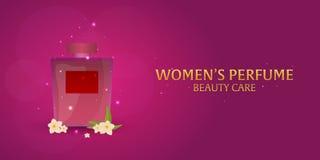 Banner Women`s Perfume. Beauty care. Classic bottle of perfume. Liquid luxury fragrance aromatherapy. Vector illustration. Banner Women`s Perfume. Beauty care Stock Image