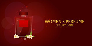 Banner Women`s Perfume. Beauty care. Classic bottle of perfume. Liquid luxury fragrance aromatherapy. Vector illustration. Banner Women`s Perfume. Beauty care Royalty Free Stock Photography