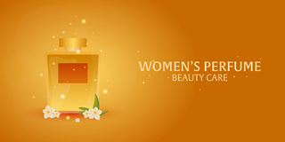 Banner Women`s Perfume. Beauty care. Classic bottle of perfume. Liquid luxury fragrance aromatherapy. Vector illustration. Banner Women`s Perfume. Beauty care Royalty Free Stock Photo