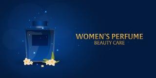 Banner Women`s Perfume. Beauty care. Classic bottle of perfume. Liquid luxury fragrance aromatherapy. Vector illustration. Banner Women`s Perfume. Beauty care Stock Photos