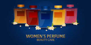 Banner Women`s Perfume. Beauty care. Classic bottle of perfume. Liquid luxury fragrance aromatherapy. Vector illustration. Banner Women`s Perfume. Beauty care Stock Photography