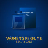 Banner Women`s Perfume. Beauty care. Classic bottle of perfume. Liquid luxury fragrance aromatherapy. Vector illustration. Stock Photography