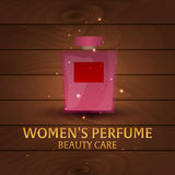 Banner Women`s Perfume. Wooden background. Beauty care. Classic bottle of perfume. Liquid luxury fragrance aromatherapy. Vector il. Lustration Royalty Free Stock Photo
