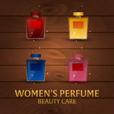 Banner Women`s Perfume. Wooden background. Beauty care. Classic bottle of perfume. Liquid luxury fragrance aromatherapy. Vector il. Lustration Stock Image