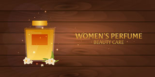Banner Women`s Perfume. Wooden background. Beauty care. Classic bottle of perfume. Liquid luxury fragrance aromatherapy. Vector il Royalty Free Stock Photos