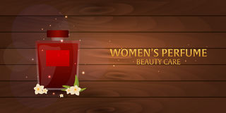 Banner Women`s Perfume. Wooden background. Beauty care. Classic bottle of perfume. Liquid luxury fragrance aromatherapy. Vector il Royalty Free Stock Images