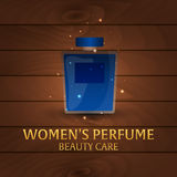 Banner Women`s Perfume. Wooden background. Beauty care. Classic bottle of perfume. Liquid luxury fragrance aromatherapy. Vector il Stock Photos