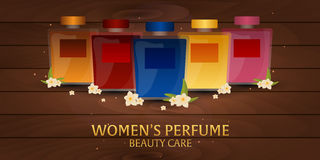 Banner Women`s Perfume. Wooden background. Beauty care. Classic bottle of perfume. Liquid luxury fragrance aromatherapy. Vector il. Lustration Stock Photography