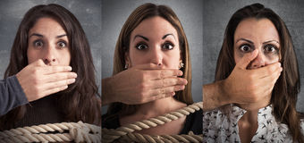 Banner of women terrified by the violence Stock Photo
