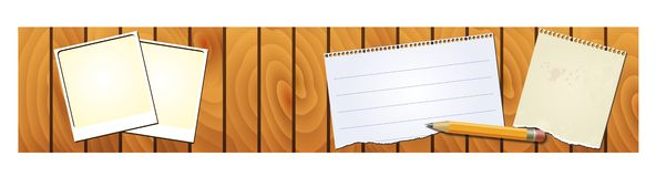 Banner wood texture with memopad pencil Royalty Free Stock Image
