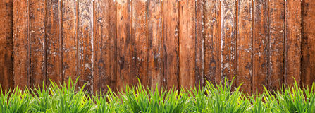 Banner with wooden fence and grass Stock Photos
