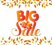 Banner with the words big sale. Autumn leaves background.  Stock Photo