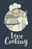 Banner with words Love Cooking and winking chef Stock Photography