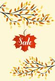 Banner with the words sale. Autumn leaves background.  Stock Images