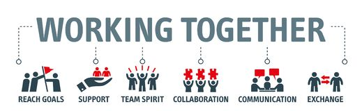 Working together vector illustration icons. Banner working together concept - contains such icons as collaboration, reach goals, team spirit, support vector illustration