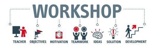 Banner workshop concept. Workshop. Banner with keywords and icons stock illustration