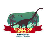 Banner World of dinosaurs. Prehistoric world. Diplodocus. Jurassic period. Royalty Free Stock Image