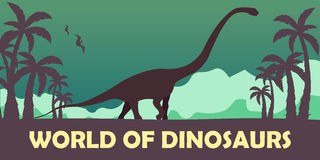 Banner World of dinosaurs. Prehistoric world. Diplodocus. Jurassic period. Stock Photos