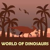 Banner World of dinosaurs. Prehistoric world. Parasaurolophus. Cretaceous period. Stock Photos