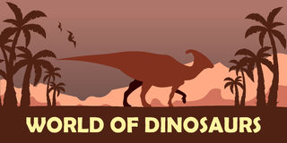 Banner World of dinosaurs. Prehistoric world. Parasaurolophus. Cretaceous period. Royalty Free Stock Photography
