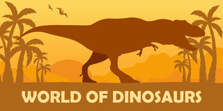 Banner World of dinosaurs. Prehistoric world. T-rex. Cretaceous period. Royalty Free Stock Images