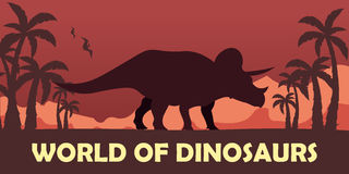 Banner World of dinosaurs. Prehistoric world. Triceratops. Cretaceous period. Stock Images
