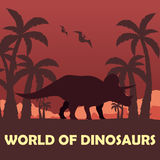 Banner World of dinosaurs. Prehistoric world. Triceratops. Cretaceous period. Royalty Free Stock Images