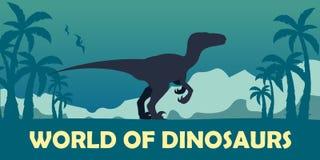 Banner World of dinosaurs. Prehistoric world. Velociraptor. Cretaceous period. Royalty Free Stock Image