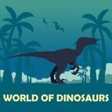 Banner World of dinosaurs. Prehistoric world. Velociraptor. Cretaceous period. Stock Photos