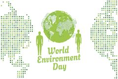 Banner world environment day with peoples and world map Stock Image
