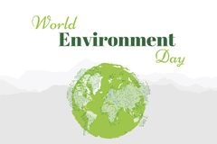Banner world environment day with world map Royalty Free Stock Photos